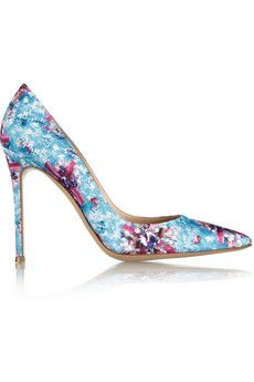Mary Katrantzou + Gianvito Rossi Lisa Ponker printed satin pumps