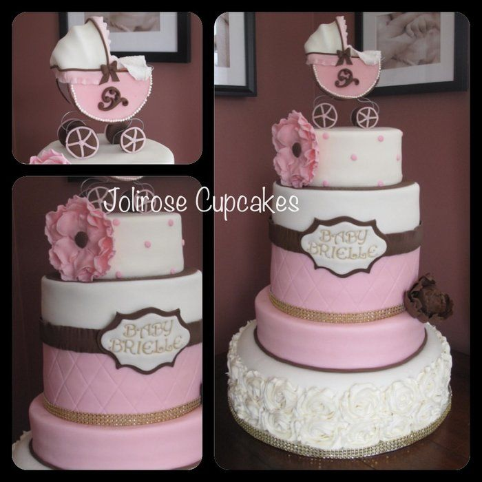 pink and brown baby shower cakes pinterest