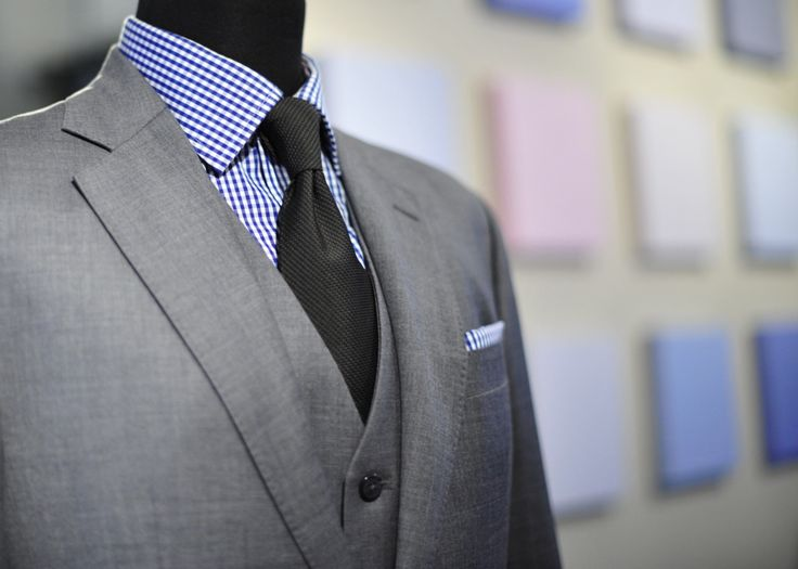 Light gray suit with blue gingham shirt gray gm pinterest for Blue suit grey shirt