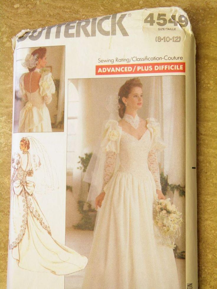 Vintage butterick uncut misses dress bridal gown pattern for Butterick wedding dress patterns
