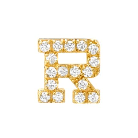 R Alphabet In Diamond Diamond Initial R Earring | Red C Jewels #diamonds #jewelry # ...