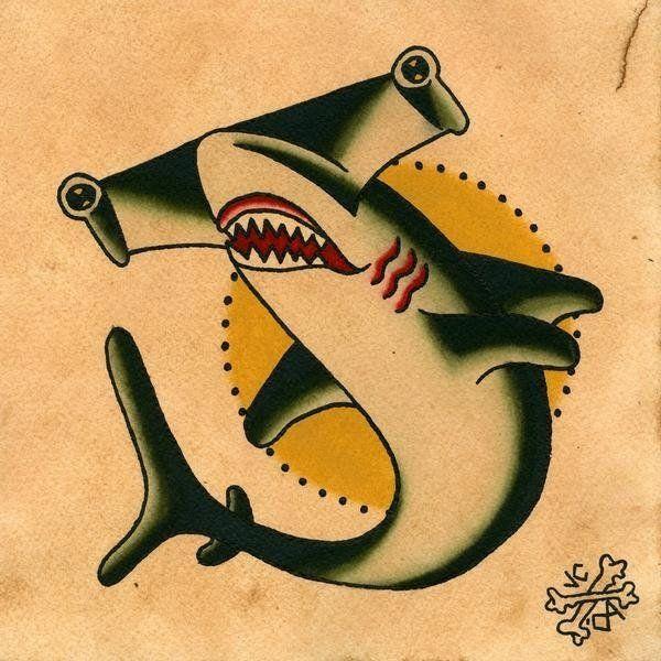 Traditional hammerhead shark tattoo - photo#17