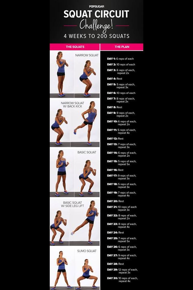 Squat circuit challenge | exercise | Pinterest