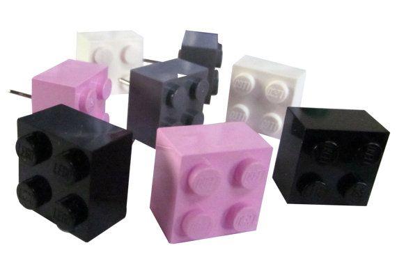 Set of 8 push pin tacks made of Lego (r) white black pink grey gray c ...