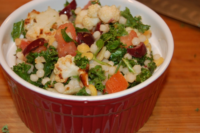 ... Salad with Roasted Cauliflower, Kalamata Olives, Kale, and Tomatoes