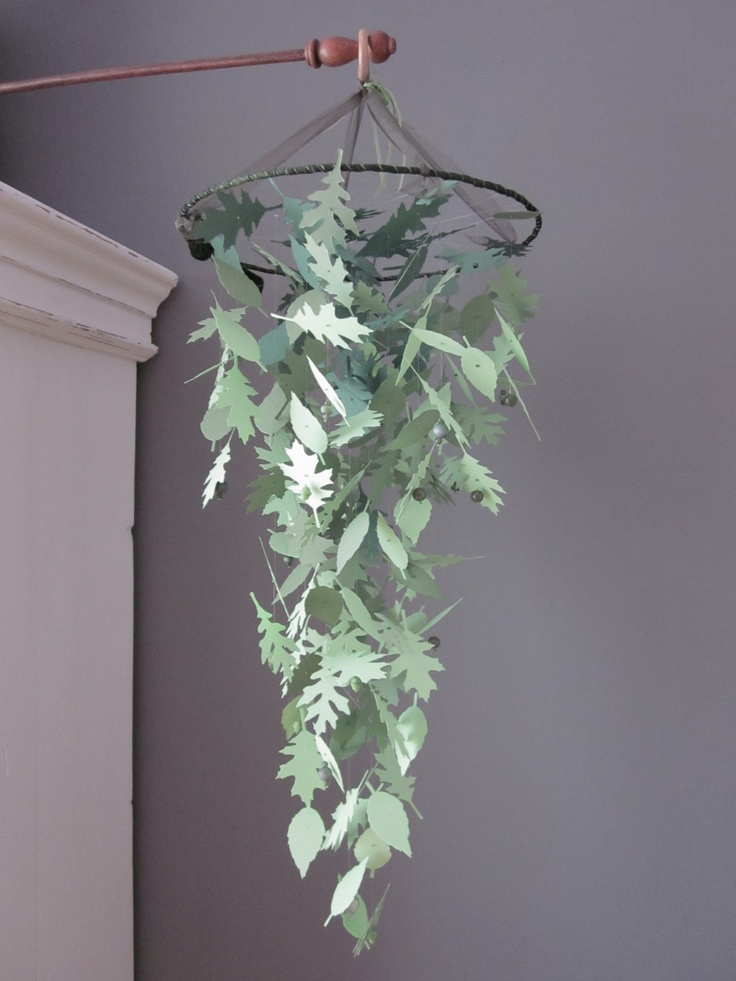 Nature inspired paper leaves mobile in ombre green shades --- Wedding ...