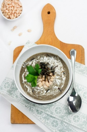 ... sherry thyme white bean soup with wild mushroom s chive mascarpone