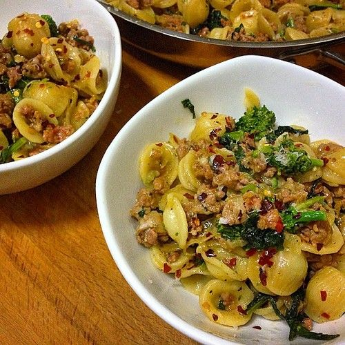 Orecchiette, caramelized onion, garlic, italian sausage, broccoli rabe ...