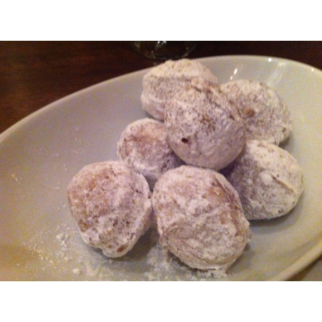 Amazing bourbon donuts with maple bourbon cream cheese sauce at the ...