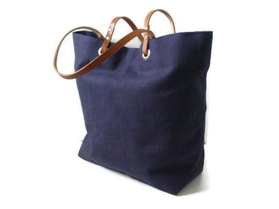 Tote Bag Sale, Linen Tote, Navy Blue with Tan Leather, Handbag, Purse ...