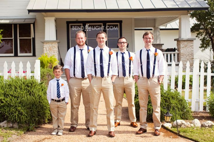 5-suspenders-khakis-groomsmen-groom-wedding-blue-orange-color-scheme-grande-hall-hofmann-ranch-castroville-wedding-reception.jpg (850×567)