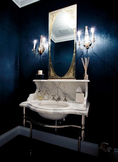 Windsor smith dark blue powder room bathroom ideas for Powder blue bathroom ideas