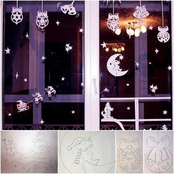 Новогоднее украшение на окно своими руками из