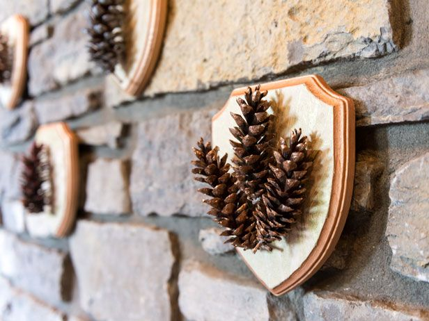 DIY Specimen Art: Painted Pine Cone Plaques (With Glitter!) >> http://blog.diynetwork.com/maderemade/how-to/painted-pinecone-plaques?soc=pinterest