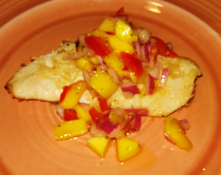 Coconut crusted chicken with mango salsa. YUM!