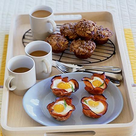 Baked Eggs and Mushrooms in Ham Crisps Recipe | Key Ingredient