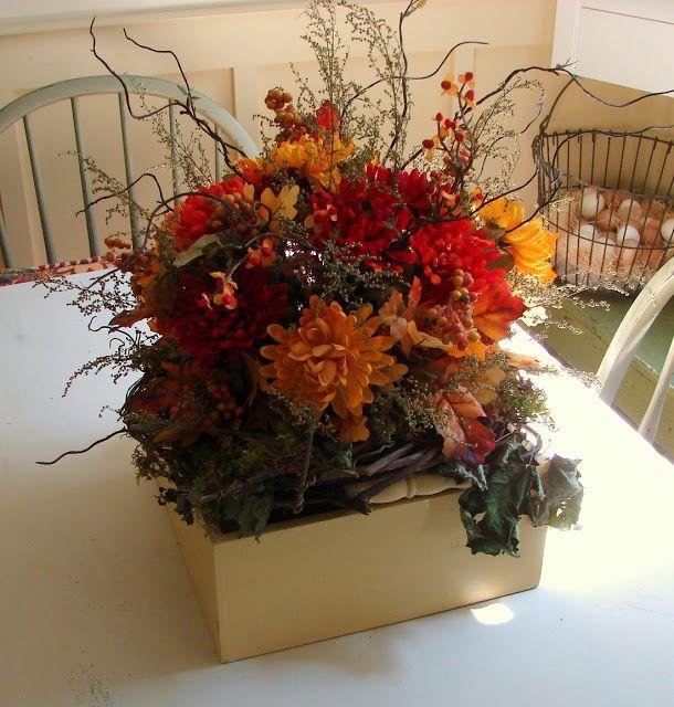 Custom comforts fall decorating home decor pinterest for Flower arrangements for dinner table