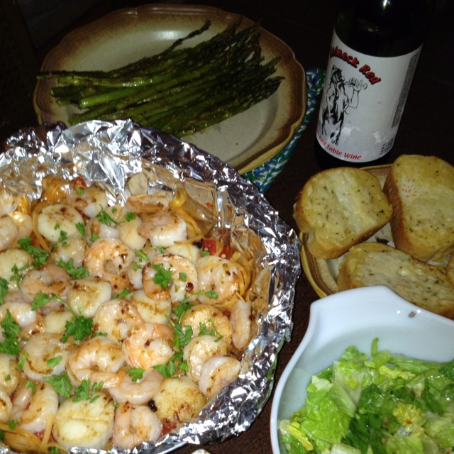 ... made by my hubby! Seafood pasta in foil packet - m.foodnetwork.com