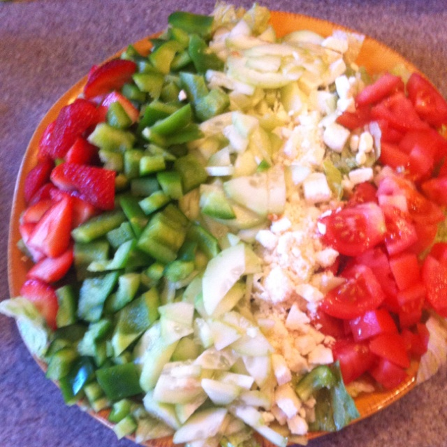 Chopped salad: strawberries, peppers, cucumbers, feta, tomato-- on a ...