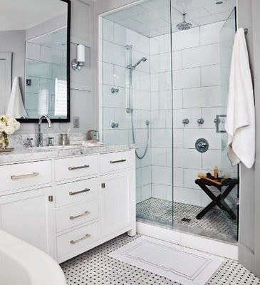 vanity next to glass shower bathrooms pinterest