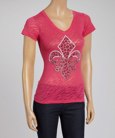 Fleur-de-Lis Burnout Tee - Women by ARIA FASHION USA #zulilyfinds
