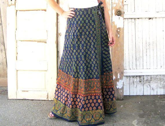 indian ethnic print maxi skirt vintage 70s high waisted