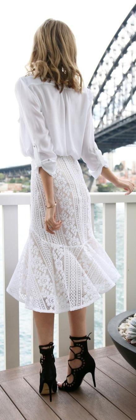 White crochet summer skirt