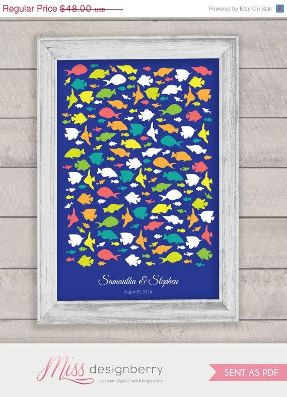 wedding guest book alternative aquarium fish beach ocean theme