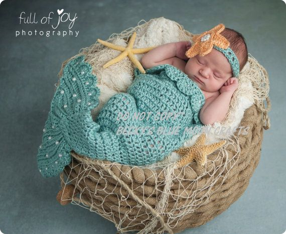 Crochet Pattern For Baby Mermaid Tail : Crochet Baby Mermaid Photo Prop~Costume~PATTERN