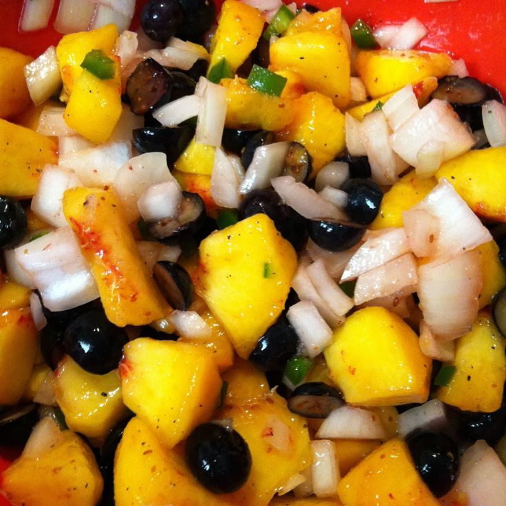 sweet & spicy chicken, avocado and corn tacos with peach blueberry ...
