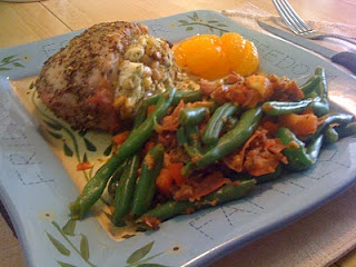 Pesto-Stuffed Pork Chops & Farm-Style Green Beans