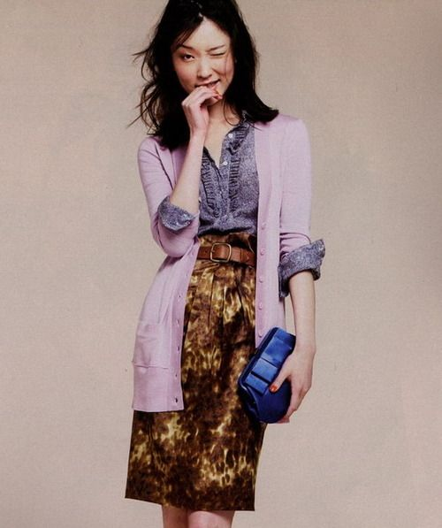 long sweater with belted pencil skirt  Du Juan for J.Crew August 2009