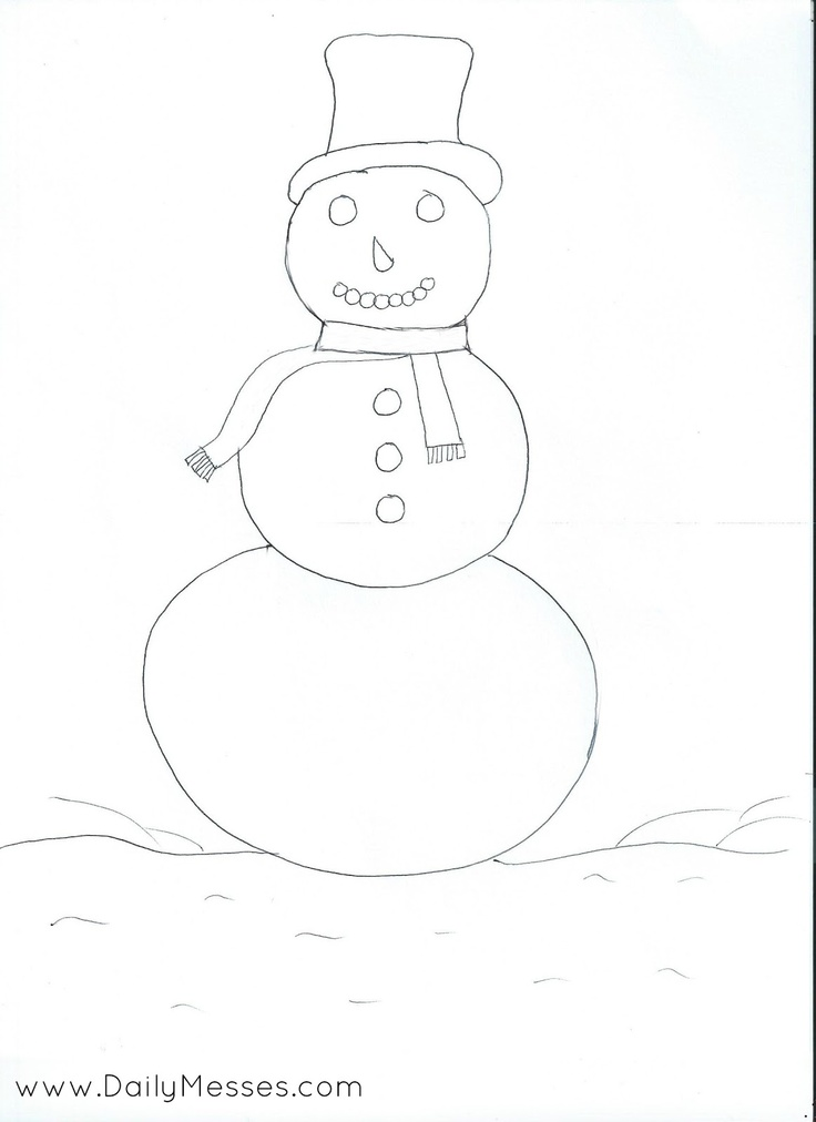 Daily Messes: Snowman Coloring Page | Craft Ideas | Pinterest