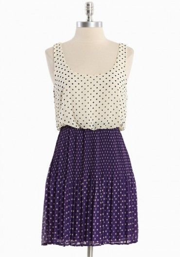 instant classic chiffon dress - cream and white polka dots