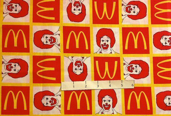 RONALD McDONALD Fabric ~ Rare HTF McDonald's Clown Golden Arches Fat Quarter