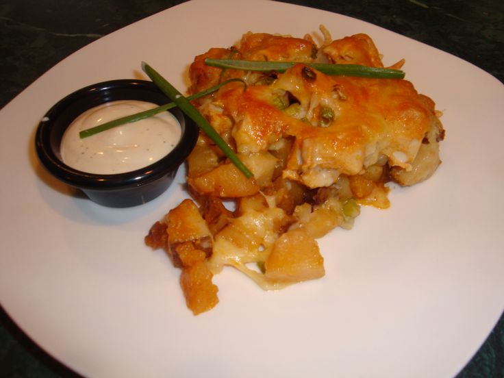 Loaded Potato and Buffalo Chicken Casserole https://www.facebook.com ...