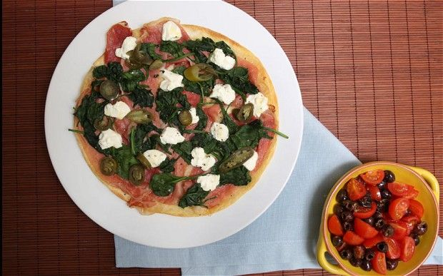 Speedy weeknight suppers: ham, goat's cheese and spinach quesadilla