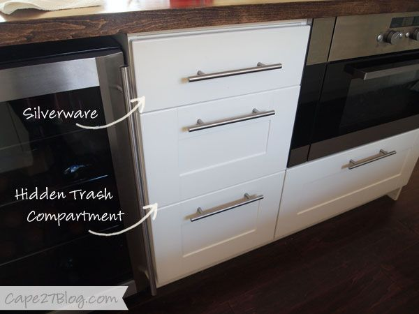 Ikea Hemnes Under Bed Storage ~ trash can remove bottom of 1 drawer attach drawer fronts w a small