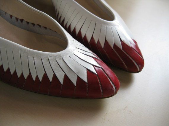 Woven Red and White Vintage Van Eli Shoes