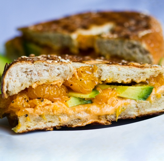 pressed avocado & mandarin orange bagel sandwich. what kinda combo is ...
