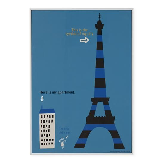 Kids Wall Decor: Kids Eifel Tower City Wall Art in Maps & Places Wall Art | The Land of Nod