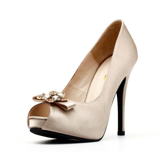 Champagne Wedding Shoe With Brooch Champagne Satin Wedding Shoe Cha