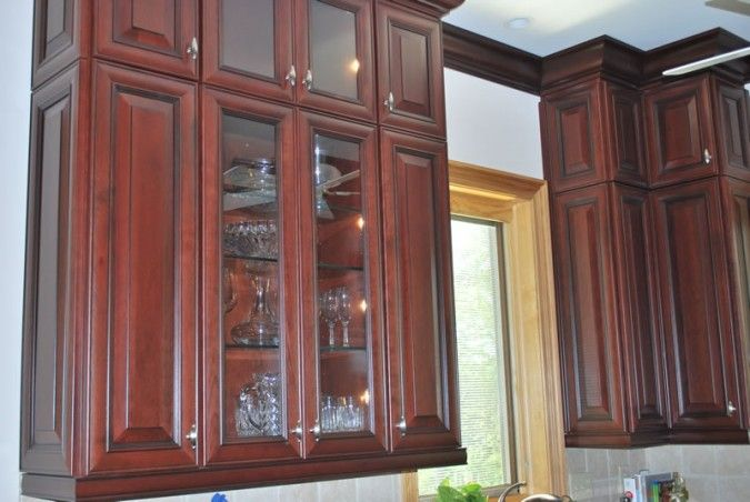 Pin by hollingsworth cabinetry on kitchens pinterest for Cherry kitchen cabinets with glass doors