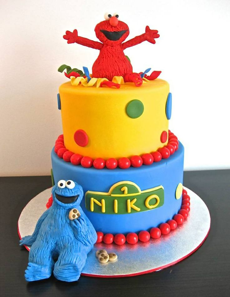 Elmo and Cookie Monster birthday cake  birthdays  Pinterest