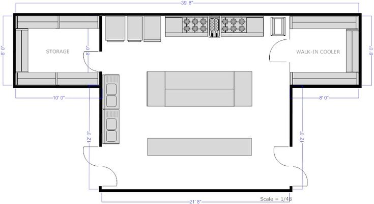 Restaurant Kitchen Central Island Floor Plan Pfc Cafeter A Pinterest