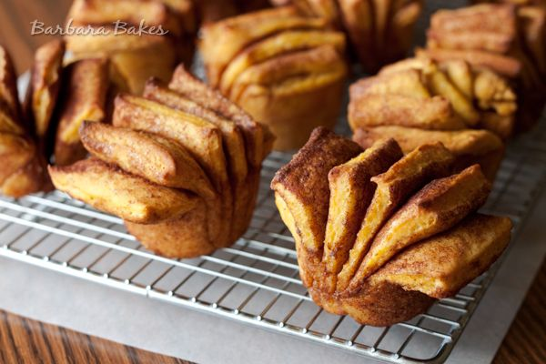 Pumpkin Fantail Cinnamon Rolls with Maple Cream Cheese Icing | Recipe