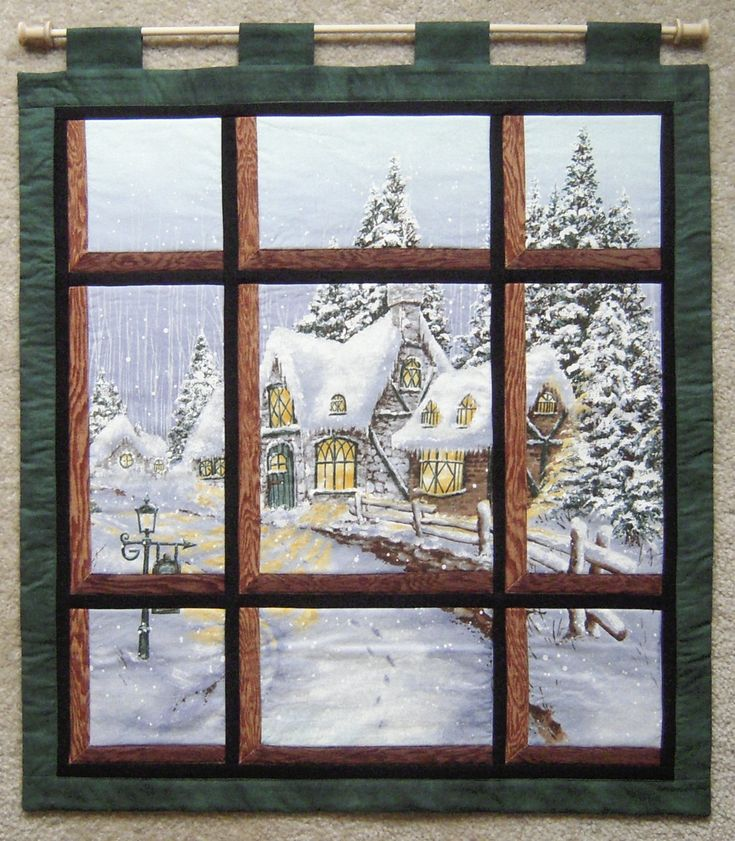 Attic window snowy chateau panel quilts pinterest for Window quilt