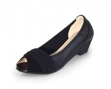 65.99 High Heel Gorgeous Black Cowhide Womens Peep Toe Shoes