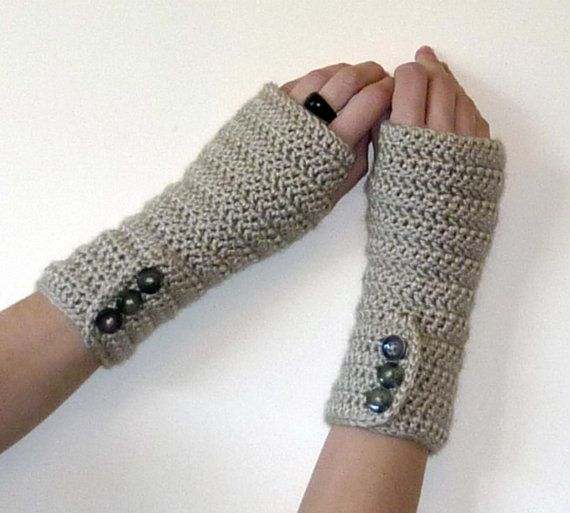 Crochet Patterns Arm Warmers : PDF PATTERN for Long Crochet Button-up Arm Warmers - Fingerless Gloves ...