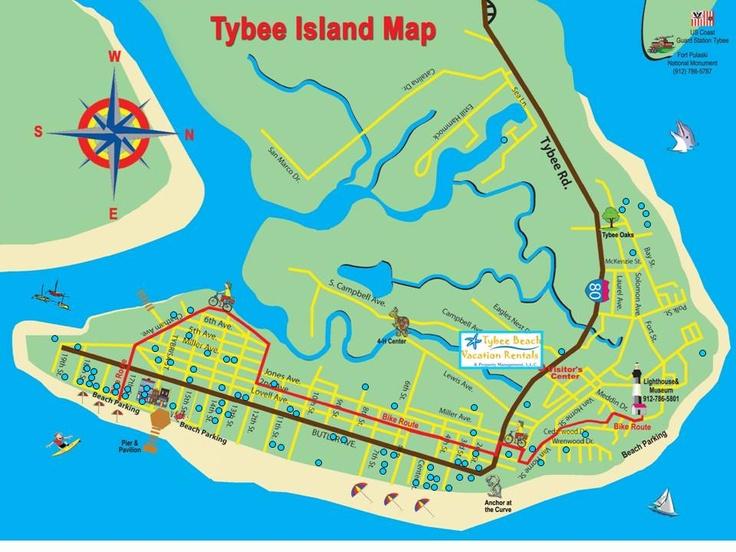 Tybee Island And Savannah Ga Map